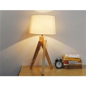 """Lampe de table trépied Baja, abat-jour tissu taupe, 24,8"""""""