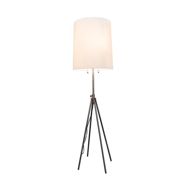 P.W. Design Montego 65-in Chrome with White Fabric Shade Tripod Floor Lamp