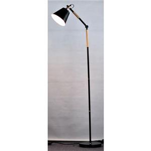 P.W. Design Rita 62.5-in Matte Black and Meta Wood Floor Lamp