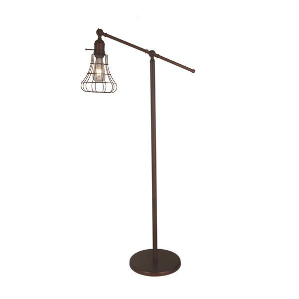 """Lampe sur pied Bowie, style rétro, métal, 44,25"""", bronze"""