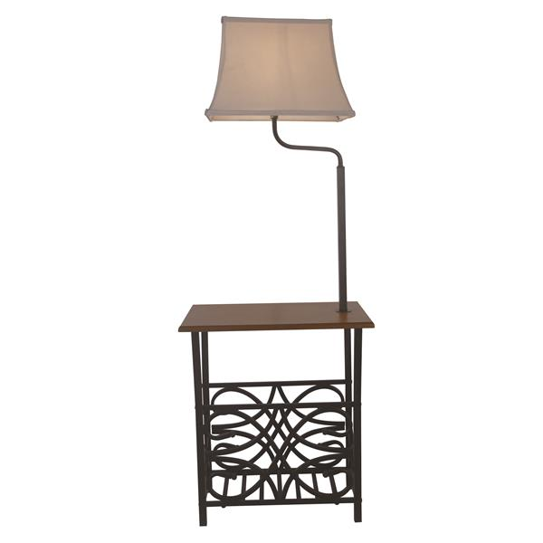 P.W. Design Leo 64.25-in Bronze with Off-White Fabic Shade Floor Lamp and End Table