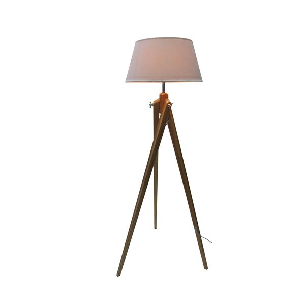 P.W. Design Baja 58.00-In Wood Tripod Floor Lamp  With Off White Fabric Shade