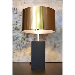 Lampe de table Jupiter, abat-jour métal doré, base en cuir