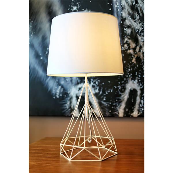 Lampe de table Saturn, abat-jour blanc, base métallique