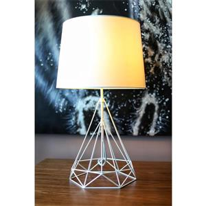 P.W. Design Saturn 25-in Table Lamp with a White Fabric Shade