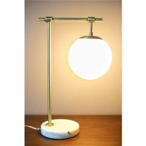 Lampe de table Lotus, abat-jour en verre, base en marbre
