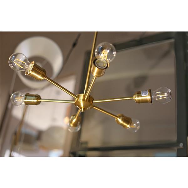 Luminaire suspendu à 6 lumières Apollo, métal, doré