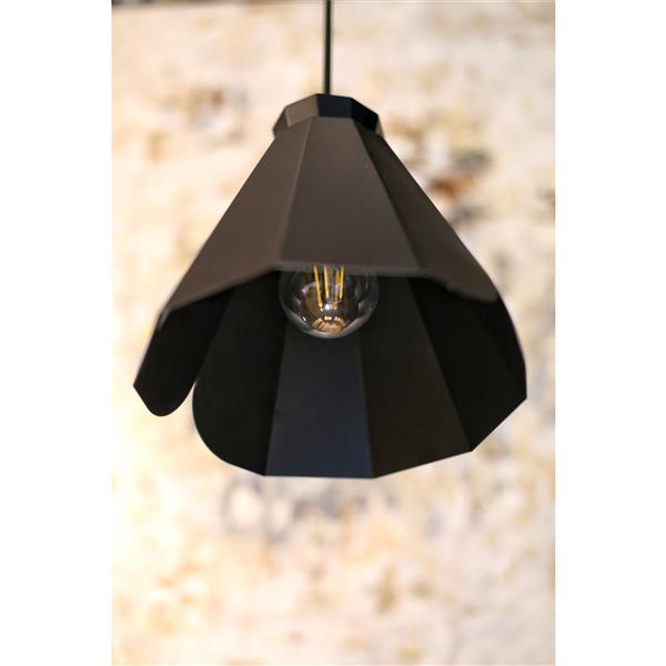 Luminaire suspendu à 1 lumière Pheobe, métal, noir