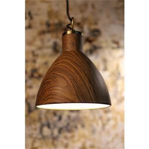 Luminaire suspendu à 1 lumière Riley, métal, fini bois/brun