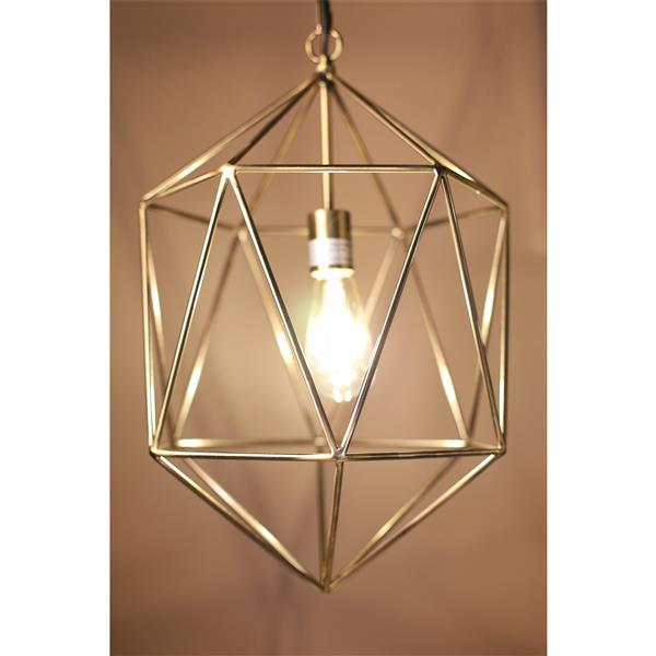 Luminaire suspendu à 1 lumière Saturn, métal, doré