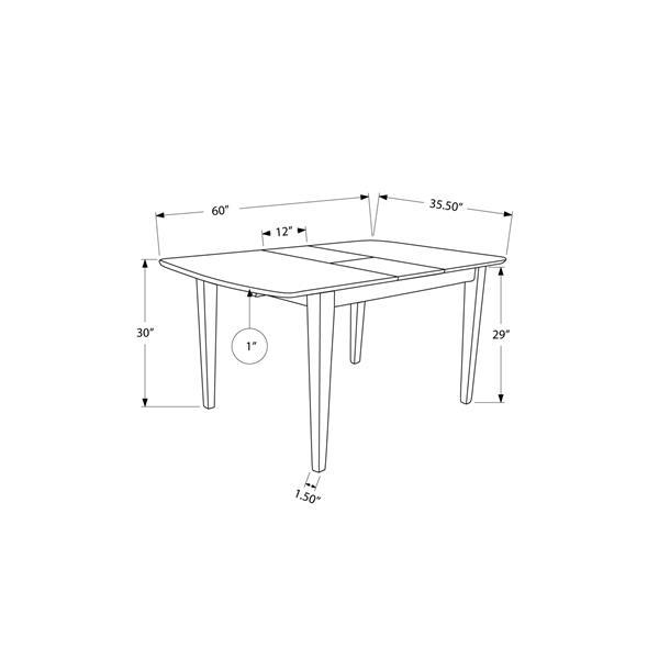 """Table de cuisine Monarch, 60"""" x 30"""", bois, cappucino"""