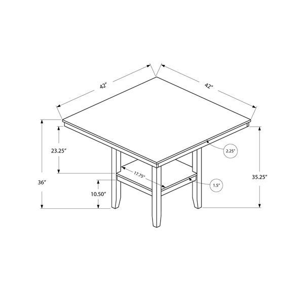 "Table de cuisine, 42"" x 36"", bois, cappucino"