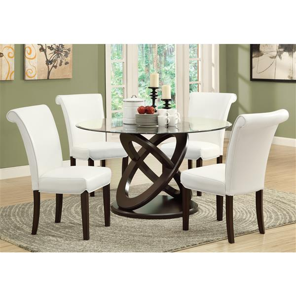 Monarch 48-in x 30.5-in Espresso Glass Dining Table