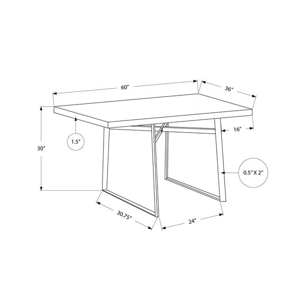 """Table de cuisine Monarch, 60""""x 36"""" x 30"""", métal, brun foncé"""