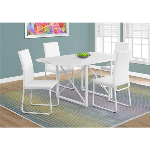 Monarch 60-in x 30-in Glossy White Dining Table