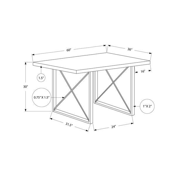 """Table de cuisine Monarch, 60"""" x 30"""", métal, blanc lustré"""