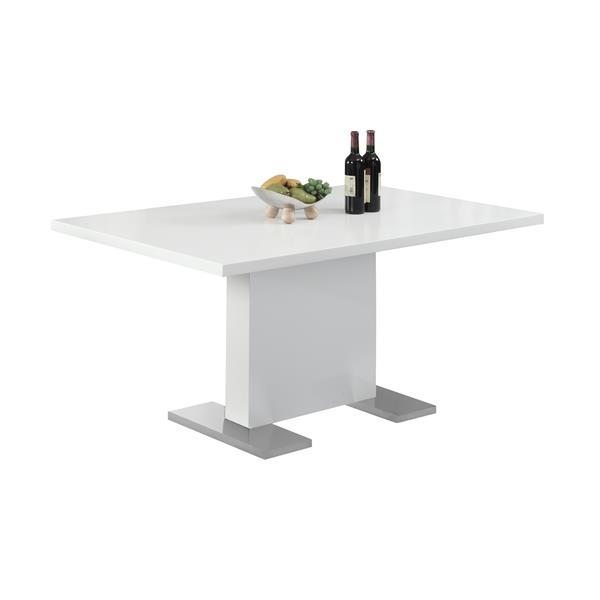 Monarch 59-in x 30-in Composite Glossy White Dining Table