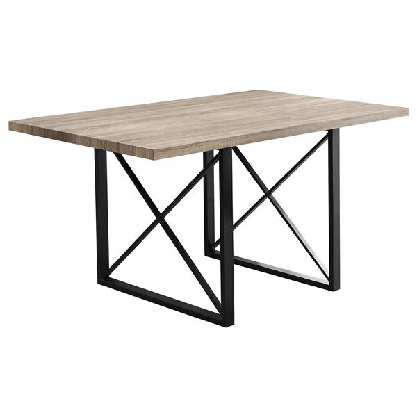 "Table de cuisine Monarch, 60"" x 36"" x 30"", métal, taupe"