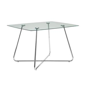 Monarch 47.75-in x 37.75-in x 30-in Metal Glass Dining Table