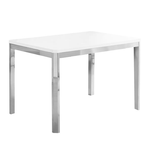 Monarch 31.5-in x 47.5-in Metal White Dining Table