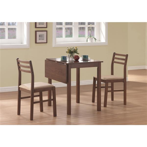 Monarch Walnut 3 Piece Dining Set