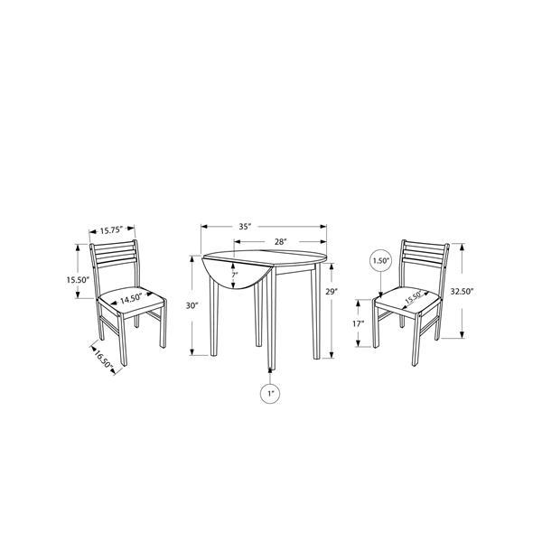 Ens. salle à manger Monarch, polyester, cappucino, 3 mcx