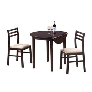 Monarch  Cappuccino 3 Piece Polyester Dining Set