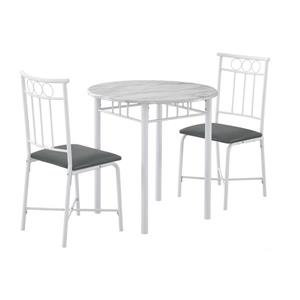Monarch Specialties White Marble 3 Piece White Metal Dining Set