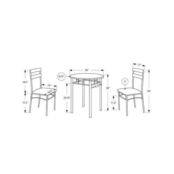 Monarch  Black 3 Piece Silver Metal Dining Set