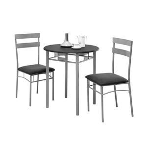 Ens. salle à manger, métal argenté, noir, 3 morceaux