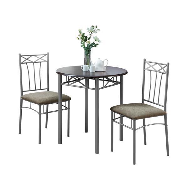 Ens. salle à manger Monarch, métal, gris argenté, 3 morceaux