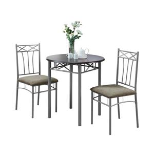 Monarch  Gray Silver 3 Piece Metal Dining Set