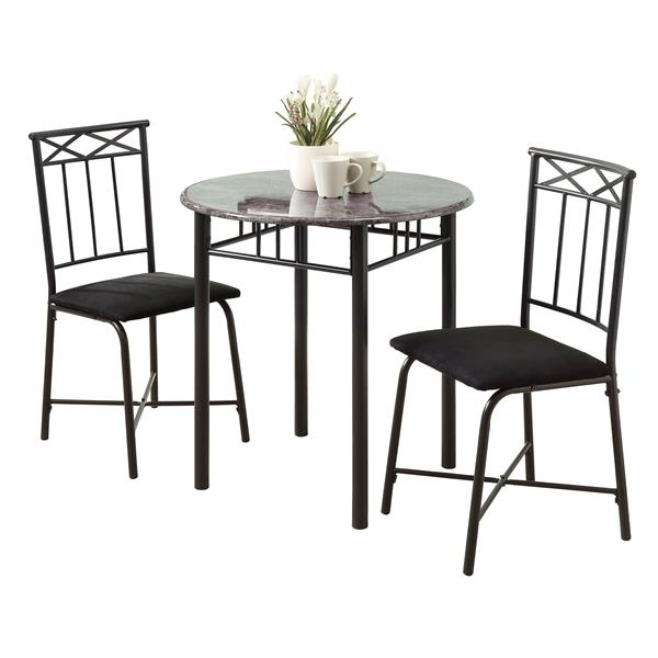 Monarch  Gray Marble 3 Piece Black Dining Set