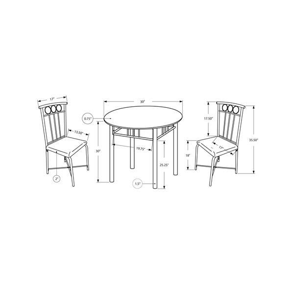 Monarch Brown Marble 3 Pice Metal Dining Set