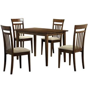 Monarch  Walnut 5 Piece Wood Dining SetMonarch  Walnut 5 Piece Wood Dining Set