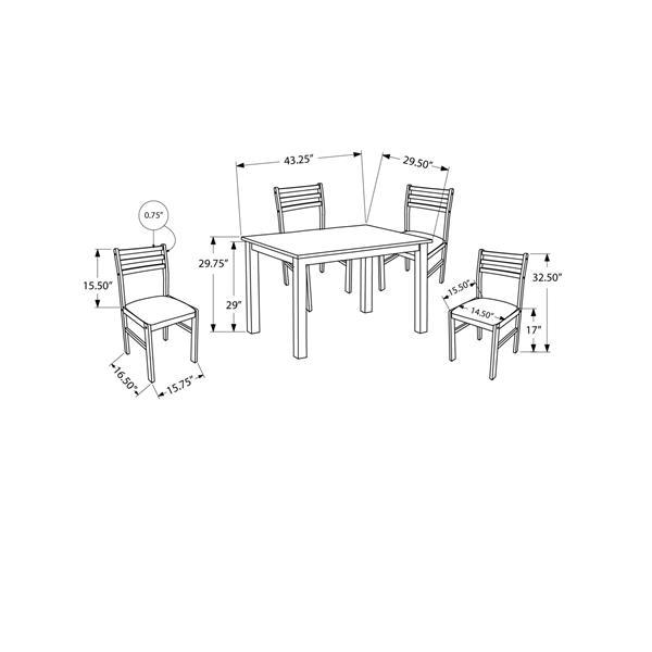 Monarch  Brown 3 Piece Microfibre Dining Set