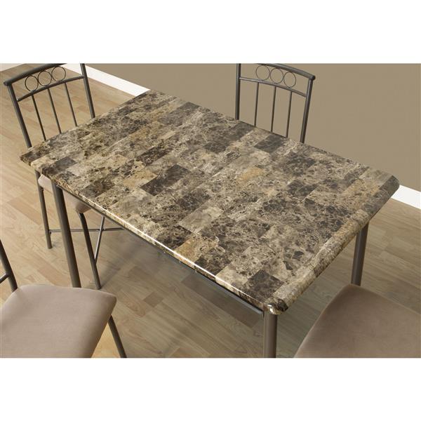 Ens. salle à manger, métal, marbre cappuccino, 5 morceaux