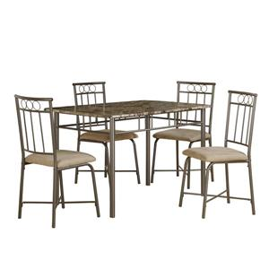 Monarch  Cappuccino Marble 5 Piece Metal Dining Set