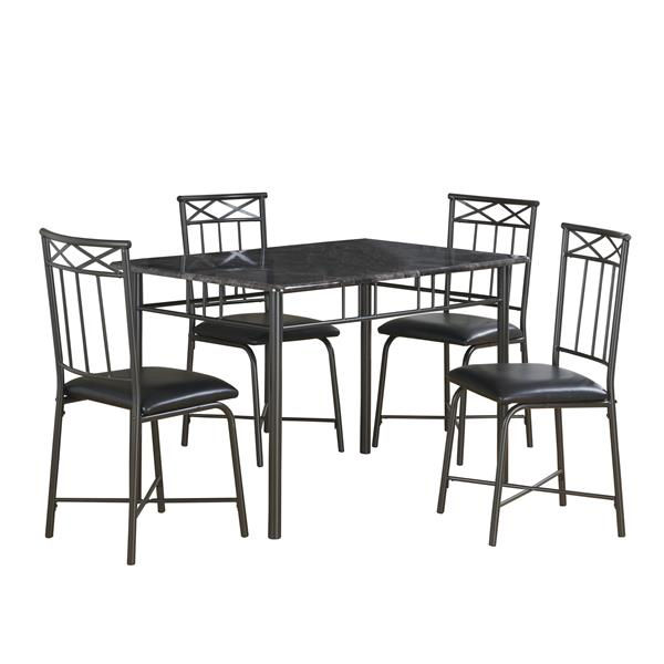Monarch  Gray Marble 5 Piece Charcoal Dining Set