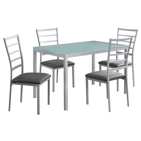 Monarch  Silver 5 Piece Tempered Glass Dining Set