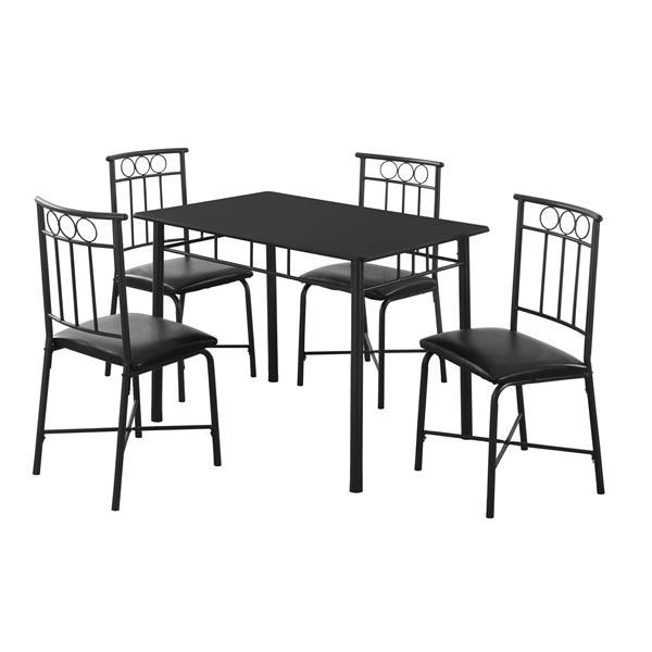 Ens. salle à manger, métal, noir, 5 morceaux