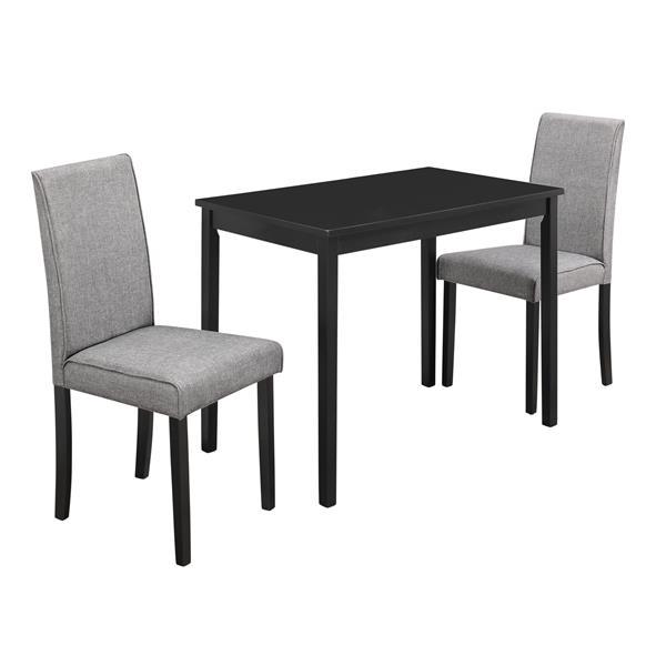 Ens. salle à manger Monarch, lin gris, noir, 3 morceaux