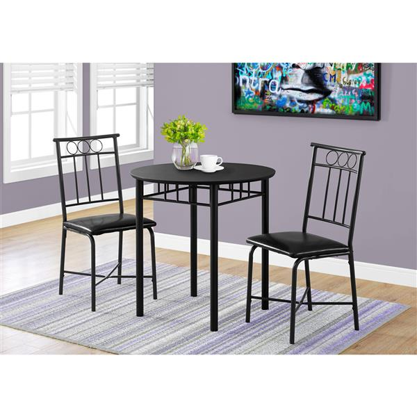 Monarch  Black Metal 3 Piece Dining Set