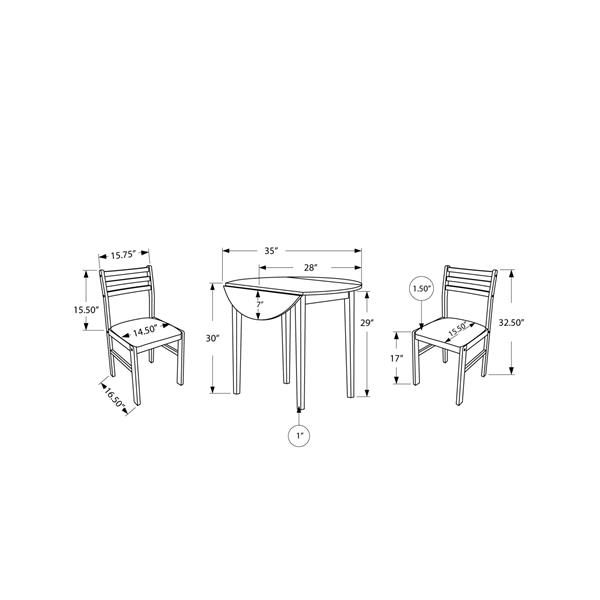 Monarch  Beige 3 Piece Wood Dining Set
