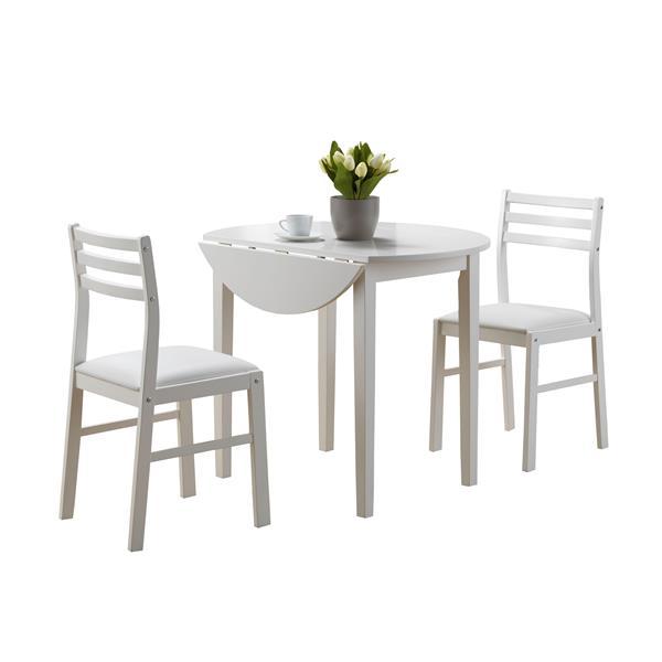 Ens. salle à manger Monarch, bois, blanc, 3 morceaux