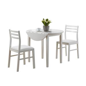 Monarch  White 3 Piece Wood Dining Set