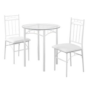 Monarch Specialties White 3 Piece Tempered Glass Dining Set