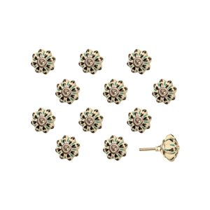 Poignées peintes à la main en céramique, 12 pqt, vert