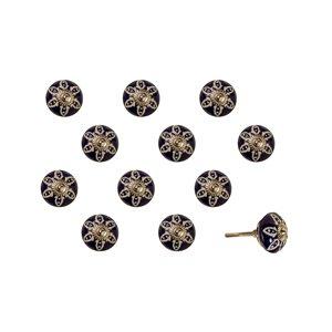 Poignées peints à la main en céramique, 12 pqt, bleu