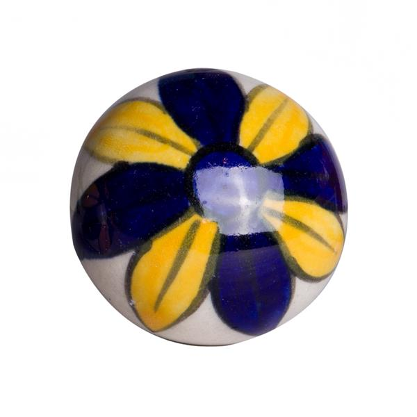 Natural by Lifestyle Brands Handpainted Yellow/Navy/White/ Ceramic Knobs (12 Pack)